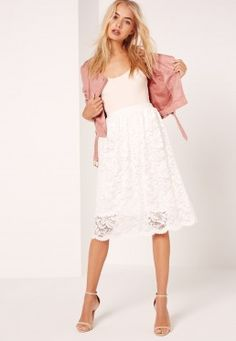 Lace Full Midi Skirt White