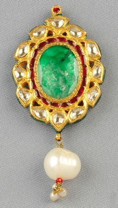 18kt Gold, Enamel, Emerald, Diamond, and Pearl Pendant, India, set with an oval-cut emerald measuring approx. 17.00 x 12.30 mm, framed by rose-cut diamonds, suspending a freshwater pearl with a seed pearl tassel, reverse with various colored enamels, lg. 2 1/2 in.