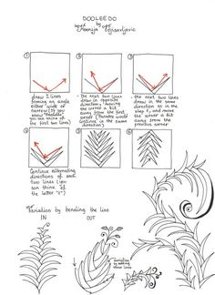 Steps for drawing Ksenija's Dooleedo tangle pattern