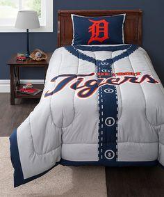 Love this Detroit Tigers Twin Comforter Set on #zulily! #zulilyfinds