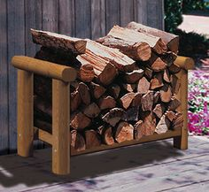 a wood rack from landscape timbers ~ easy #DIY