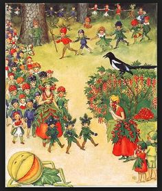 "Elsa Beskow, 1874-1953, ""The August Berry Fairy Festival"""