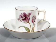 Cup & saucer, Flower painting 'tulips', Meissen…