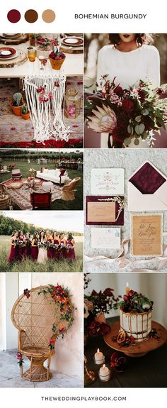 Bohemian burgundy wedding inspiration