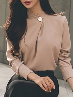 Pink Chiffon Solid Long Sleeve Stand Collar Blouse - All About Stylish Work Outfits, Classy Outfits, Formal Outfits, Business Outfits, Business Attire, Mode Outfits, Fashion Outfits, Fashion Tips, Fashion Trends