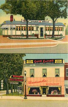 Vintage postcard of Texaco Grill Diner, Geneva, New York