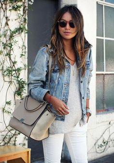 White skinnies, gray tee, denim jacket