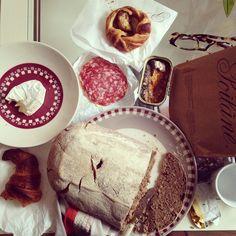 "@charlenewangdechen Our little DIY #Paris breakfast: poilâne, #croissant, apple galette from #poilâne; cheese, #saussicon, #sardines from a neighborhood ""#bodega"" #paris #stgermain #breakfast #ihaveissueswglutenbutohwell"