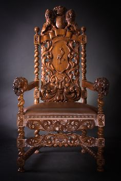 "Reachly decorated armchair. A curved backboard decorated with a motif of acanthus leaves and the Gdansk coat of arms on top. Arms with lion heads carved at the ends. A cartouche with a motif of a ""crane guardian"""" - the author's identification. need more details? write us: info@meble.gda.pl"
