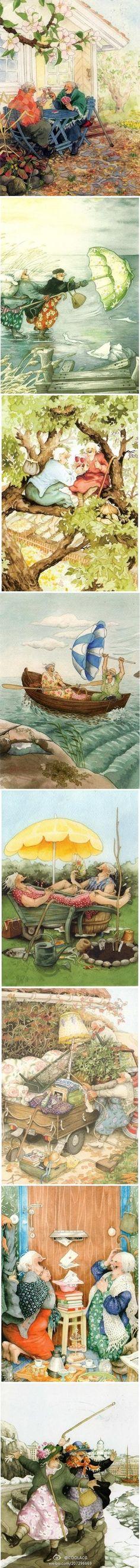 精选图库』芬兰——画师Inge Look 的水彩插画作品Ⅰ:『我们要一辈子都快乐的在一起』『快乐的老奶奶』 ❀ 更多插画欣赏: