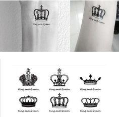 무료 배송 섹스 당신을 킹 & 퀸 광대 손목 손가락 문신 스티커 임시 문신 # r120