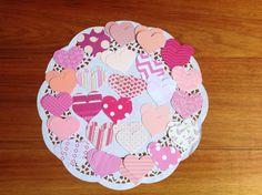 Love heart confetti, paper confetti, tags, pink love hearts, love heart tags by PinkyPromiseBargains on Etsy