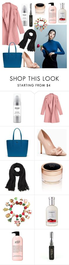 """""""XMAS OUTFIT // blue+pink n black"""" by chooseonecool ❤ liked on Polyvore featuring Ouai, Lacoste, Steve Madden, Show Beauty, Carlo Zini and philosophy"""