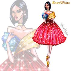 Snow White - Disney Haute Couture - by Armand Mehidri Disney Princess Fashion, Disney Princess Art, Disney Inspired Fashion, Disney Style, Disney Art, Disney Sketches, Disney Drawings, Disney Fashion Sketches, Disney Mode