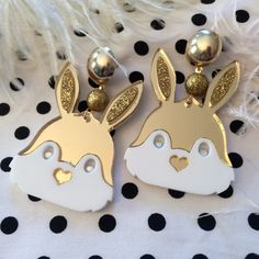 Gold and White Bunny Head Mirror Acrylic Earrings by imyourpresent