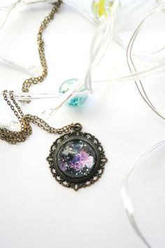 Items similar to Nebula necklace - Hand painted necklace - Cosmic jewelry - Galaxy scape on Etsy Cosmic, Ireland, Resin, Designers, Hand Painted, Etsy Shop, Pendant Necklace, Trending Outfits, Unique Jewelry