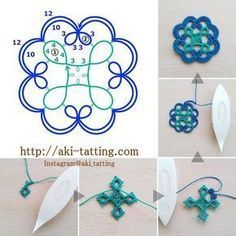 "247 Likes, 19 Comments - aki (@aki_tatting) on Instagram: ""photo >>> #aki_tatting_freepattern_03 ビーズを入れたり繋げてブレードにしたり、色々アレンジしてみて下さい☺ #aki_tatting_freepattern…"" Browse through over 7,500+ high quality unique tattoo designs from the world's best tattoo artists!"