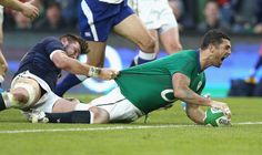 February 2nd. 2014: Rob Kearney scores for Ireland against Scotland in the 2014 RBS Six Nations match at the Aviva Stadium.