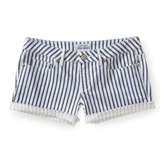 Striped Denim Shorty Shorts from Aeropostale | Clothing(: | Pinterest ❤ liked on Polyvore featuring shorts, aeropostale shorts, striped shorts, aéropostale, denim shorts and striped denim shorts