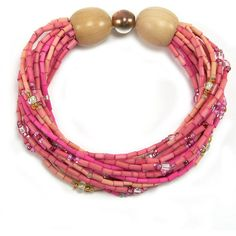 Multi-Strand Bracelet Kuponya (to heal) Breast Cancer Awareness... (39 AUD) ❤ liked on Polyvore featuring jewelry, bracelets, hand crafted jewelry, beaded jewelry, bead jewellery, beading jewelry and handcrafted jewelry