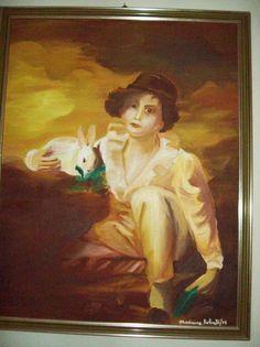 """Rifacimento di """"Fanciullo col coniglio"""" di H. Raeburn (olio su tela)"""