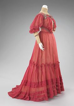 Love the color and visual effect of the silk over cotton!  French afternoon dress, ca. 1903
