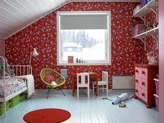 Red attic room via: klikk. See more attics at: atticworks.blogspot.com.