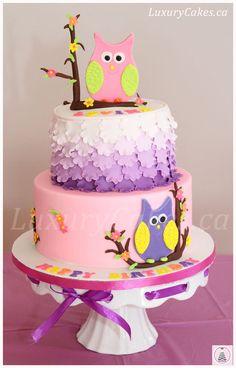 Owl themed birthday cake