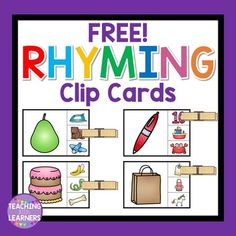 Rhyming Clip CardsFun activity to help your students enhance their rhyming… Rhyming Word Game, Rhyming Preschool, Rhyming Worksheet, Rhyming Activities, Kindergarten Literacy, Language Activities, Kindergarten Reading, Classroom Activities, Literacy Centers