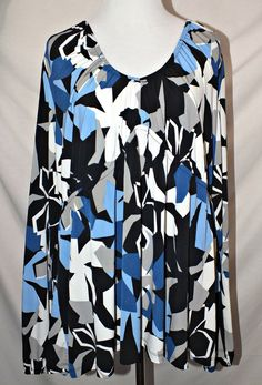 Worthington Casual Long Sleeve Multi-color Women's Top Blouse Tunic Size 3x #Worthington #Blouse #Casual