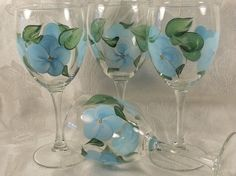 Hand Painted 10 oz  Wine Glasses  Island Blue 4 by EverMyHart, $39.95