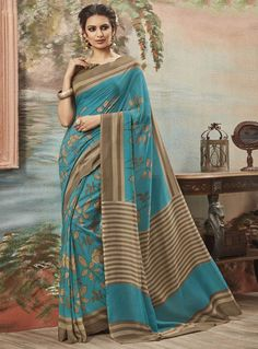 Blue Art Silk Printed Saree With Blouse 86986