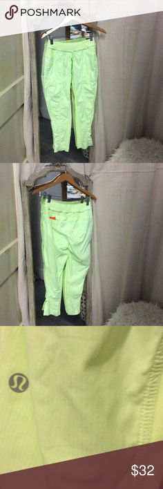 Lulu Lemon workout pants Neon green lulu lemon workout pant, size 4. Trades not accepted, prices are firm. lululemon athletica Pants Track Pants & Joggers