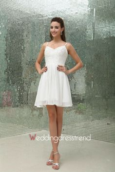 Beautiful Fairytale Beaded A-line Short/Mini Chiffon Wedding Dress with Spaghetti Straps - Cheap Wedding Dresses Wholesale and Retail Online Store