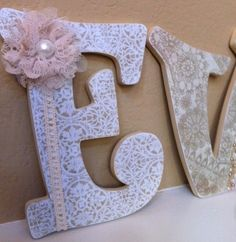 Custom Wooden Nursery Letters - Baby Girl Nursery Decor- Personalized Name- any color, theme, bedding. $15.75, via Etsy.