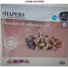 Shapers Chocolate and Toffee Popcorn Syns Toffee Popcorn, 500 Calorie Meals, Slimming World Syns, Chocolate Toffee, 500 Calories, Meal Deal, Snacks, Shopping, Appetizers