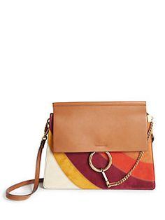 Chloé - Faye Medium Rainbow Patchwork Leather & Suede Shoulder Bag