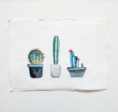 Kaktus-Trio: Original Aquarell Malerei von CarlaEllisCreative