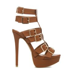 High-heeled buckled sandals in cognac, Fallon - ShoeDazzle