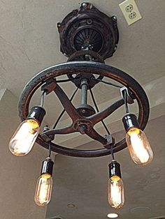 Household Items Made of Car Parts: Steering wheel chandeliers