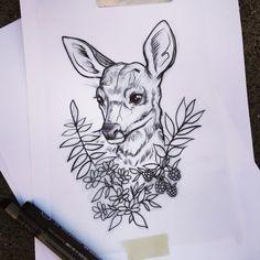 "68 Likes, 3 Comments - Essi Tattoo & Art ✨ (@essitattoo) on Instagram: ""Available to tattoo 😸 Laita viestiä essitattoo@gmail.com #deer #babydeer #ink #drawing #essitattoo…"""