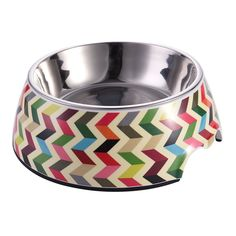 Multicolor Striola Pattern Pet Bowl with Removable Melamine Stainless Steel Bowl Pet Dog Cat Supplies by Awtang *** You can get more details by clicking on the image. (This is an affiliate link and I receive a commission for the sales)