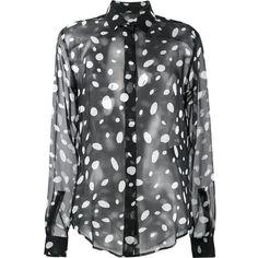 Saint Laurent sheer polka dot blouse (£960) ❤ liked on Polyvore featuring tops, blouses, loose shirt, sheer long sleeve shirt, polka dot shirt, patterned shirts and long sleeve shirts