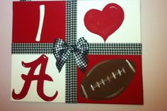 Painted  I ❤Alabama Football Canvas.... Love This.... Want To Make This....
