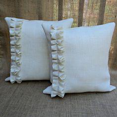 Set of 2 Burlap Pillow Covers Shabby Chic Decor Bow Pillows, Diy Throw Pillows, Diy Pillow Covers, Burlap Pillows, Sewing Pillows, How To Make Pillows, Decorative Throw Pillows, Cushion Covers, Pillow Set