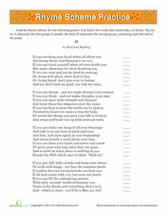 """Worksheets: Rhyme Scheme: """"If"""" poetry 5th"""