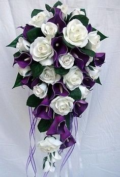 WEDDING BOUQUET,PURPLE CALLA LILY,ROSES,DIAMANTE