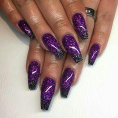 How to easily remove a glitter nail polish - My Nails Nail Art Violet, Purple Acrylic Nails, Purple Nail Art, Purple Glitter Nails, Nail Art Designs, Purple Nail Designs, Acrylic Nail Designs, Hot Nails, Hair And Nails