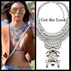 Silver rhinestone statement necklace Coachella silver statement necklace. Boho chic as seen on Kendall Jenner. Jewelry Necklaces