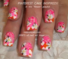 Pink and Orange with Daisies Pinterest cake inspired nail art by Robin Moses